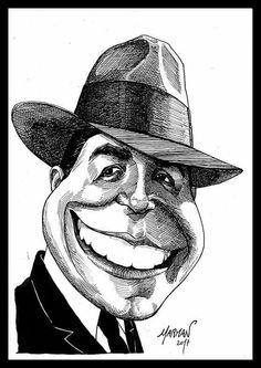 Caricatura del Mago Carlos Gardel (plumín y tinta china)