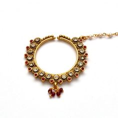 Anvi's rubies nose ring studded with white stones with pearls chain - Online Shopping for Maang Tikkas by Anvi Collections