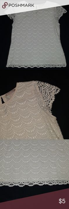 Elegant ladies top Cream color elegant lace ladies top Perfect for undershirt or by itself Sz:10 brand : banana republic Smoke and pet free home  My prices are low so the best way to save will be to bundle multiple items Banana Republic Tops Blouses