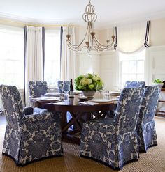windowsCoordinating window treatments. These chair covers would look great on my Parson chairs. Not in blue.