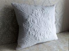 Купить Белоснежная декоративная наволочка - белый, наволочка, наволочка на подушку, наволочка декоративная, трапунто