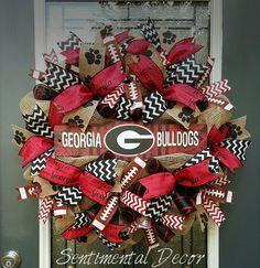 UGA Wreath,Burlap University of Georgia Wreath,Football Burlap Wreath,Georgia Bulldogs Wreath,Tailgate Party Decoration,Go Dawgs! by SentimentalDecor on Etsy https://www.etsy.com/listing/245640512/uga-wreathburlap-university-of-georgia