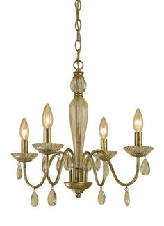 "AF Lighting 7004-4H Elements Series ""Judy"" Four-Light Mini Chandelier with Glass Soft Gold Indoor Lighting Chandeliers Mini Chandeliers"