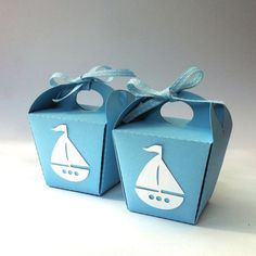 Baby Blue Boats Mini gift boxes. Takeout style (noodle boxes). No glue, fold together. Sailing ship motif in white, nautical party, baby shower, wedding favors.