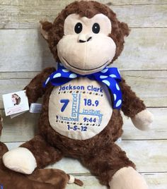 Baby Cubbies Personalized Stuffed Brown Monkey - adorable baby gift! - pinned by pin4etsy.com