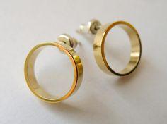 Gold Stud Earring  Classic Circle Studs  Simple Hoop Earings
