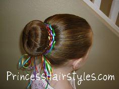 Rainbow Bun Dance Bun With Ribbon - All For Hairstyles Ribbon Hairstyle, Dance Hairstyles, Princess Hairstyles, Braided Hairstyles For Wedding, Crown Hairstyles, Little Girl Hairstyles, Pretty Hairstyles, Gymnastics Hairstyles, Teen Hairstyles