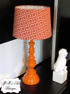 Brass Lamp Makeover with Orange...I have an ugly brass lamp in my attic that's asking for attention.