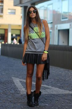 boots with short skirt