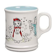 [Fresh outlook]Feel born anew after a warm embrace each morning from the fairy tale toddlers of our Disney Animators' Collection as sketched on this mug inspired by the popular Disney Store doll line. Disney Coffee Mugs, Cute Coffee Mugs, Coffee Cups, Coffee Time, Tea Time, Disney Collectibles, Disneyland, Disney Cups, Disney Dishes