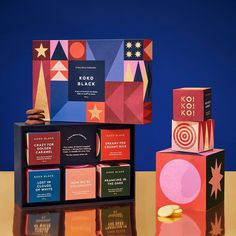 """Round on Instagram: """"For Koko Black, we captured the madness of its Silly Season campaign across every touchpoint, including packaging and storytelling.  Using…"""" Packaging Box Design, Cool Packaging, Tea Packaging, Beauty Packaging, Print Packaging, Book Cover Design, Book Design, Packaging Inspiration, Layout Design"""