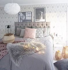 Love this beautiful bedroom! Vita Eos light shade available online.