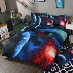 2017 Blue Starry Galaxy Bedding Set 3D Kids Luxury Bed Covers King Size Galaxy Bedding Set Queen Size #Affiliate