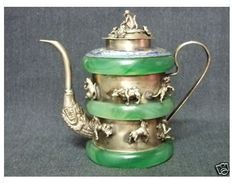 Green Jade Tibet Dragon Animal 12 animals TeaPot GH