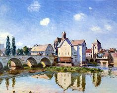 The Moret Bridge in the Sunlight by Alfred Sisley ::