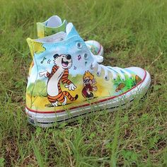 dd43782b20 Hand Painted Calvin and Hobbes Converse. Painted ConversePainted Canvas  ShoesHand ...
