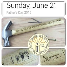 Custom engraved wood handle hammer. Available for dad, grandad, or any special petal you look up to. Our hammers are customized and engraved with any message / words / phrase / logos or images. Engraved hammers are a great way of expressing your live for dad on Father's Day. Order your custom engraved hammer either by phone or come into our shop. We can also ship our hammers world wide.   Nonno is Italian for  'grandfather'. We can customize our engraved hammers in any language and with a…