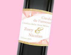 Etiquette de bouteille mariage tendance et romantique avec ses dorures, réf.N3001021