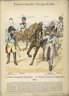Batavian Republic; 1st Light Dragoons, Officer & Dragoon & 2nd Light Dragoons, Dragoon(front & rear) 1804 Nassau, French Revolution, Napoleonic Wars, Reno, Military History, Troops, Belgium, Dutch, Vintage World Maps