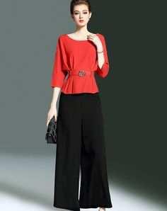 #AdoreWe #VIPshop Womens - CYANINE SEA Red Cotton Belted Ruffle Top & Wide Leg Pants 2PC Set - AdoreWe.com