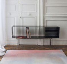 QUATTRO VINYL CUSTOM + FLOU RUG - vinyl shelf in waxed steel - designed by julien Vidame Available on www.vidamecreation.com - #quattro #vinyl #vinylfurniture #disc #design #shelf #module #waxedsteel #waxpatina #julien #vidamecreation #designfurniture #module #modular #rennes #bretagne #newcollection #metal #industrial #loft