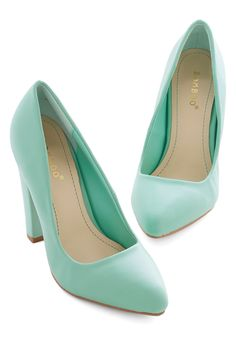 Now Introducing Heel - High, Faux Leather, Mint, Solid, Prom, Wedding, Party, Work, Daytime Party, Bridesmaid, Bride, Pastel, Minimal, Good, Chunky heel, Press Placement