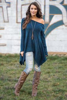 Reach to the Stars Long Sleeve Asymmetrical Hem Tunic Top (Teal)