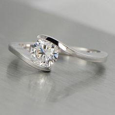 5.3mm Round Brilliant Diamond Bypass Tension by FirecutDiamonds, $915.00