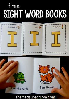 Four free books to teach the sight word I - The Measured Mom Print these free printable sight word books for beginning sight words! They're for teaching sight words in preschool, kindergarten, and first grade. Preschool Sight Words, Teaching Sight Words, Sight Word Practice, Kindergarten Sight Words Printable, Preschool Letters, Preschool Printables, Preschool Learning, In Kindergarten, Preschool Readiness