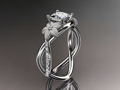 14kt  white gold diamond floral leaf and vine by anjaysdesigns, $1595.00