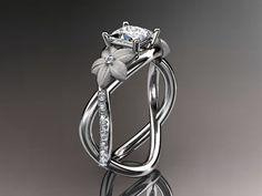 14kt  white gold diamond floral, leaf and vine wedding ring,engagement ring,moissanite  princess cut center ADLR90PR