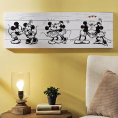 Product Details Mickey & Minnie Canvas Art Print Celebrate the history of motion pictures with Kirkland's adorable Mickey & Minnie Canvas Art Print! This wall decor is perfect for Disney lovers and looks great in media or living rooms. Disney Diy, Casa Disney, Deco Disney, Disney Home Decor, Disney Crafts, Retro Home Decor, Disney House, Disney Wall Decor, Disney Kitchen Decor
