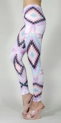 Pastel Aztec Ethnic Tribal Pattern Print Sorbet Color Leggings Tights Pants #leggings www.lovitsomuch.com