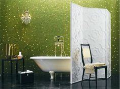 Elena by Bisazza a stunning shade of green mosaic tile with a touch of gold  Elena is made up of GM 20.80, 20.302 BIS & 20.301 BIS  Available online - http://mosaictiles.com.au/elena-mix-oro-bisazza-mosaic-glass-tiles  #bisazzaelena #elenamosaictiles #mosaictiles #glassmosaictiles #mosaicartsupplies #artandcraft
