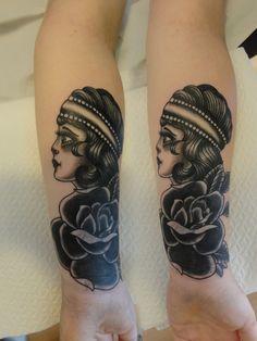 traditional tattoos, black tattoos, rose tattoo, girls head, tattoos by mue, schwere see tattooatelier stendal