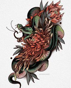 🐍🌺 Artwork by Jean Paul Marat Tattoo Snake, Neo Tattoo, Yakuza Tattoo, Bodysuit Tattoos, Tattoo Sketches, Tattoo Drawings, Crisantemo Tattoo, Kobra Tattoo, Japanese Snake Tattoo