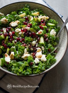 Healthy Kale Salad Recipe with Pomegranates, Feta Cheese and Cucumbers