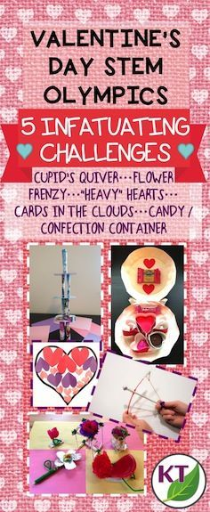 """Blog post outlines 5 infatuating Valentine's Day-themed STEM challenges that can be modified for use with grades 2-8. Help Cupid get some target practice, build a tower of love, design the perfect candy container, find the """"heaviest"""" heart, and have a flower frenzy!"""