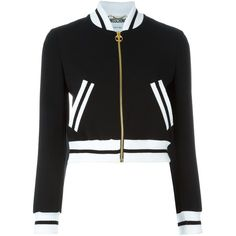 Moschino Cropped Bomber Jacket (€725) ❤ liked on Polyvore featuring outerwear, jackets, tops, coats & jackets, black, bomber jackets, stand up collar jacket, zip front bomber jacket, style bomber jacket and cropped jacket
