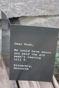 Dear Noah...