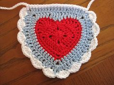 Hearts Bunting CrochetGarlandRed White by RoseJasmine on Etsy, $22.00