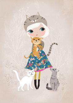 Amante dei gatti...Giclee print di un'illustrazione originale di DrawnByRebeccaJones su Etsy https://www.etsy.com/it/listing/203541839/amante-dei-gattigiclee-print-di