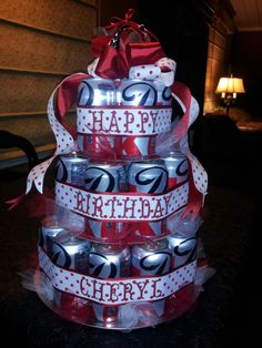 Diet Coke Birthday Cake...topped with an initial Christmas ornament