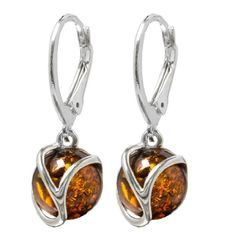 Honey Amber Sterling Silver Round Leverback Earrings >>> You can find out more details at the link of the image.