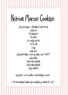 neiman marcus cookies oppskrift chocolate chip cookies Neiman Marcus Cookies, Cookie Bars, Chocolate Chip Cookies, Sugar Free, Sweets, Baking, Desserts, Tailgate Desserts, Deserts