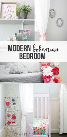 Modern Bohemian Bedroom for Baby Girl | Nursery Reveal, Modern Bohemian Bedroom for Baby Girl, Nursery, Toddler Room, One Room Challenge