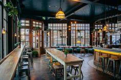 The Culpeper: B&B, pub én restaurant in Londen ⋆ Looselab Bar Interior, Restaurant Interior Design, Modern Restaurant, River Restaurant, Restaurant Furniture, Pub Design, Pub Bar, Cafe Bar, B & B
