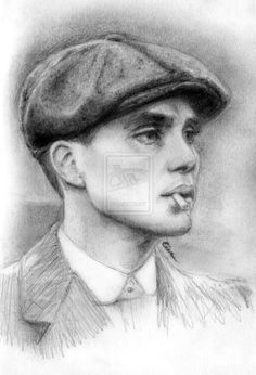 """Rough sketch of the extremely talented Cillian Murphy as Tommy in BBC's """"Peaky Blinders"""". Black Paper Drawing, Black And White Drawing, Black And Grey Tattoos, Portrait Sketches, Art Drawings Sketches, Portrait Art, Art Painting Gallery, Sketch Painting, Peaky Blinders Tommy Shelby"""