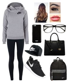 """""""When they think your having a lazy day but this is your style💁"""" by blessed-with-beauty-and-rage ❤ liked on Polyvore featuring NIKE, MICHAEL Michael Kors, ZeroUV, Givenchy and LASplash"""