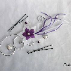 Léonie - bijou de cheveux blanc prune aubergine violet mariée fleurs soie et plumes